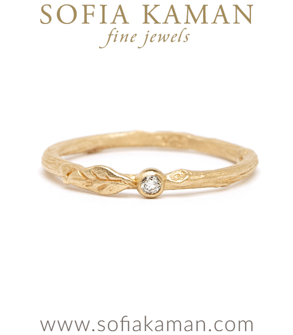 Gold Diamond Pod Leaf Twig Band Boho Stacking Band designed by Sofia Kaman handmade in Los Angeles using our SKFJ ethical jewelry process.