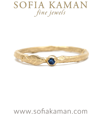 14K Gold Blue Sapphire Twig Boho Stacking Ring designed by Sofia Kaman handmade in Los Angeles