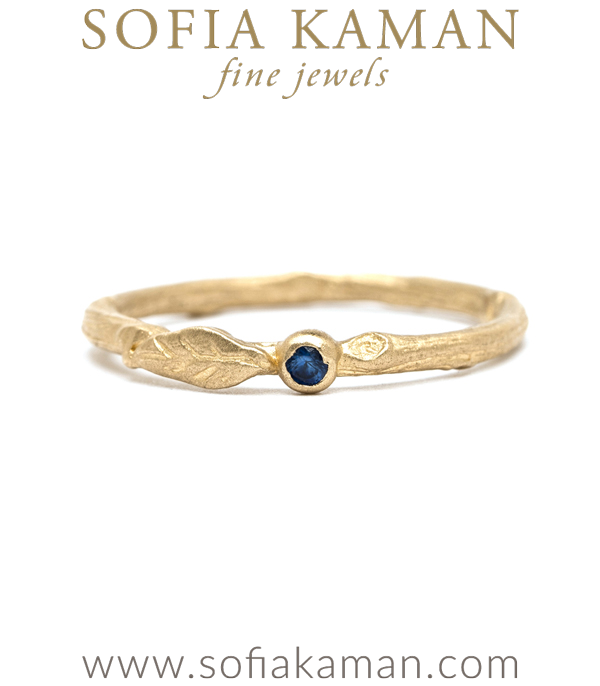 14K Gold Blue Sapphire Twig Boho Stacking Ring designed by Sofia Kaman handmade in Los Angeles using our SKFJ ethical jewelry process.