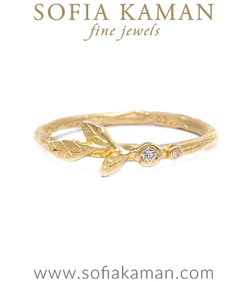 Organic Diamond Leaf Twig Boho Stacking Ring Natural Bohemian Wedding Band made in Los Angeles