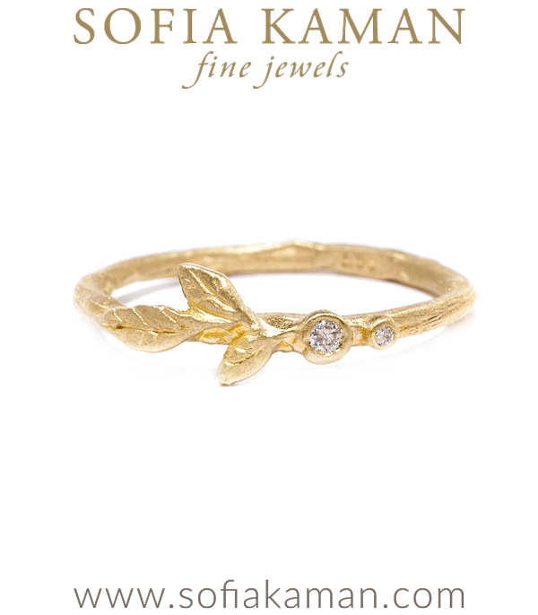 Organic Diamond Leaf Twig Boho Stacking Ring Natural Bohemian Wedding Band designed by Sofia Kaman handmade in Los Angeles using our SKFJ ethical jewelry process.