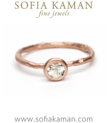 Matte Rose Gold Twig Textured White Sapphire Solitaire Boho Engagement Ring designed by Sofia Kaman handmade in Los Angeles