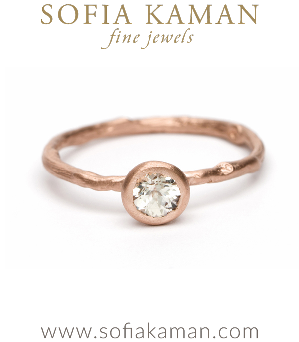Matte Rose Gold Twig Textured White Sapphire Solitaire Boho Engagement Ring designed by Sofia Kaman handmade in Los Angeles using our SKFJ ethical jewelry process. This piece has been sold and is in the SK Archive.