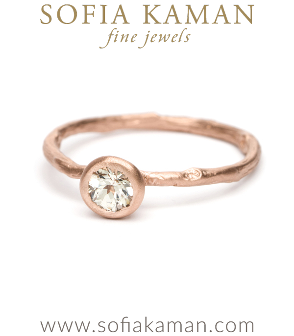 Rose Gold Twig Textured White Sapphire Bohemian Engagement Ring