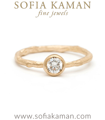Natural Organic Twig Diamond Solitaire Bohemian Engagement Ring designed by Sofia Kaman handmade in Los Angeles