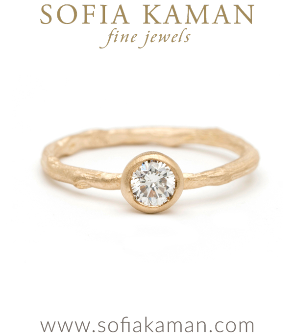 Natural Organic Twig Diamond Solitaire Bohemian Engagement Ring designed by Sofia Kaman handmade in Los Angeles using our SKFJ ethical jewelry process.