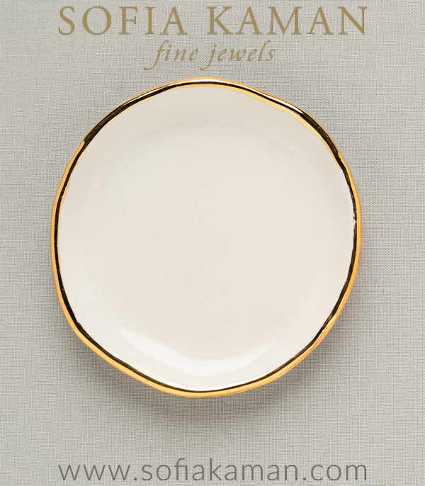Gold Ring Dish for Mother's Day Gift or Bridesmaid designed by Sofia Kaman handmade in Los Angeles using our SKFJ ethical jewelry process.