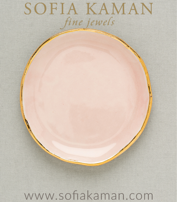 Rose Gold Ring Dish Perfect for a Gift or Bridesmaid designed by Sofia Kaman handmade in Los Angeles using our SKFJ ethical jewelry process.