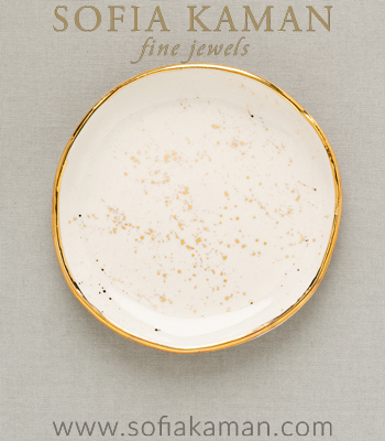 Gold Speckled Ring Dish Perfect for a Gift or Bridesmaid designed by Sofia Kaman handmade in Los Angeles