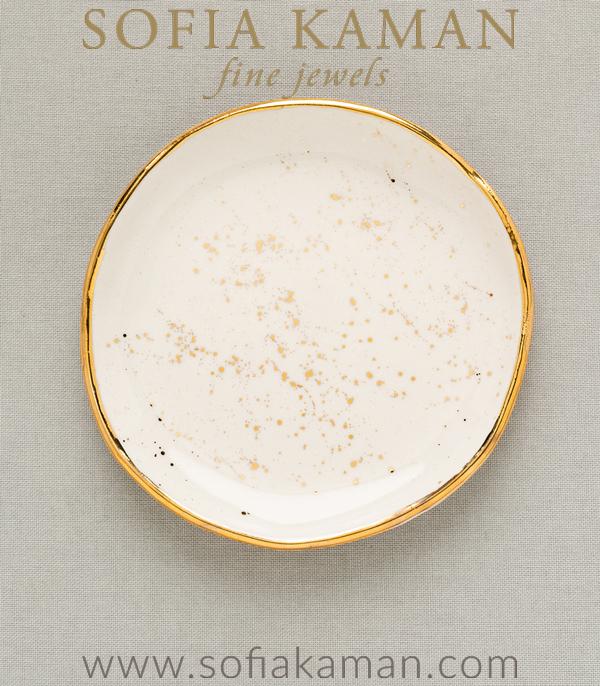 Gold Speckled Ring Dish Perfect for a Gift or Bridesmaid designed by Sofia Kaman handmade in Los Angeles using our SKFJ ethical jewelry process.