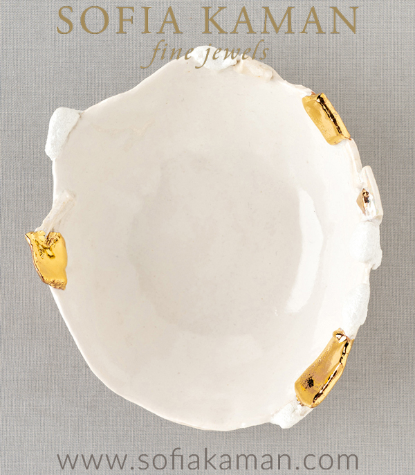 Beautiful White and Gold Jewelry Dish for Unique Engagement Rings designed by Sofia Kaman handmade in Los Angeles using our SKFJ ethical jewelry process.