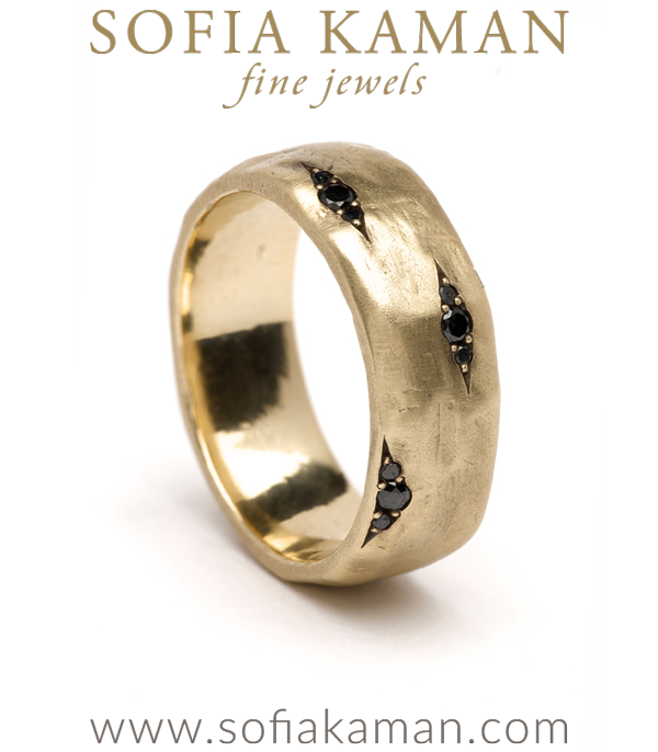 Large Size Gender Neutral Black Diamond Pod Wedding Band for Unique Engagement Rings designed by Sofia Kaman handmade in Los Angeles using our SKFJ ethical jewelry process.