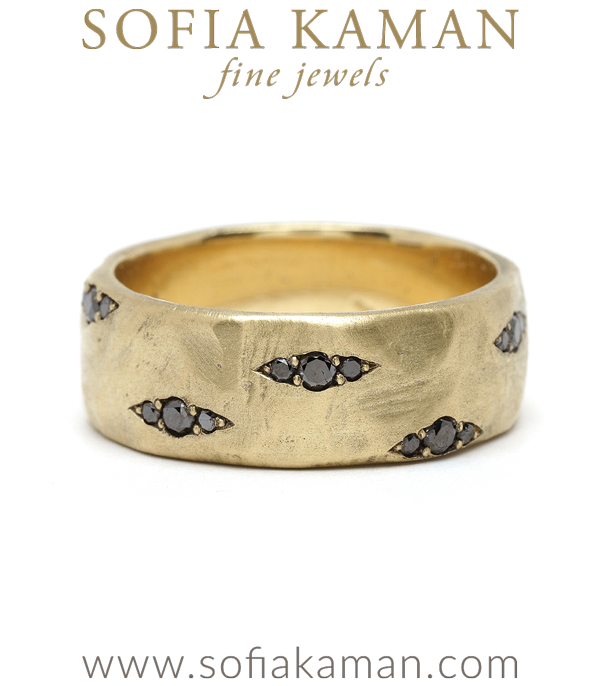 Black Diamond Pod Gender Neutral Wedding Band for Unique Engagement Rings designed by Sofia Kaman handmade in Los Angeles using our SKFJ ethical jewelry process.