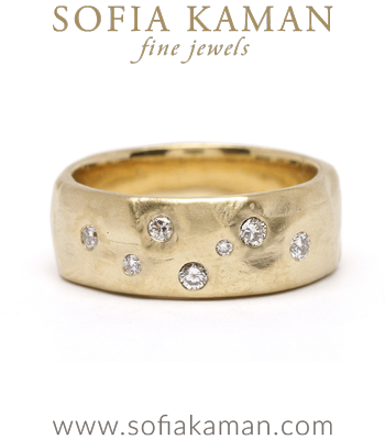 Organic Texture Bohemian Diamond Wedding Band for Unique Engagement Rings designed by Sofia Kaman handmade in Los Angeles
