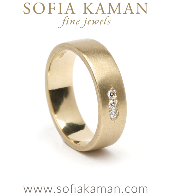 Large 3 Diamond Smooth Wedding Band for Unique Engagement Rings designed by Sofia Kaman handmade in Los Angeles using our SKFJ ethical jewelry process.