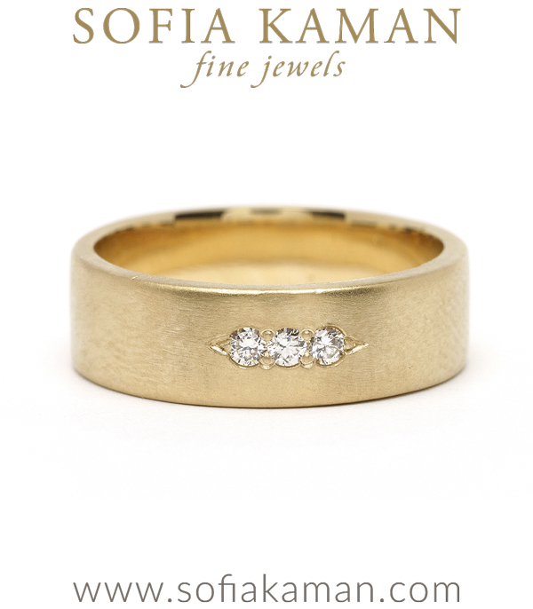 3 Diamond Smooth Gender Neutral Wedding Band designed by Sofia Kaman handmade in Los Angeles using our SKFJ ethical jewelry process.