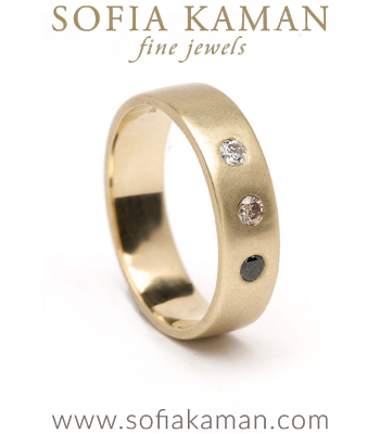 Large 3 Diamond Ombre Gender Neutral Wedding Band for Unique Engagement Rings designed by Sofia Kaman handmade in Los Angeles