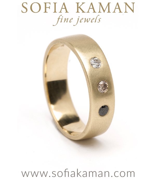 Large 3 Diamond Ombre Gender Neutral Wedding Band for Unique Engagement Rings designed by Sofia Kaman handmade in Los Angeles using our SKFJ ethical jewelry process.