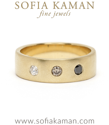Ombre 3 Diamond Gold Smooth Gender Neutral Wedding Band for Unique Engagement Rings designed by Sofia Kaman handmade in Los Angeles