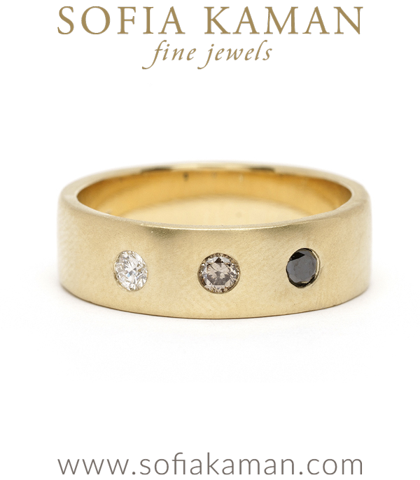 Ombre 3 Diamond Gold Smooth Gender Neutral Wedding Band for Unique Engagement Rings designed by Sofia Kaman handmade in Los Angeles using our SKFJ ethical jewelry process.