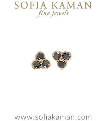 14K Gold Black Diamond Trefoil Earrings For Black Diamond Engagement Ring designed by Sofia Kaman handmade in Los Angeles