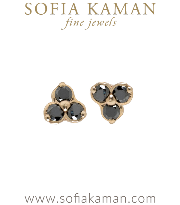 14K Gold Black Diamond Trefoil Earrings For Black Diamond Engagement Ring designed by Sofia Kaman handmade in Los Angeles using our SKFJ ethical jewelry process.