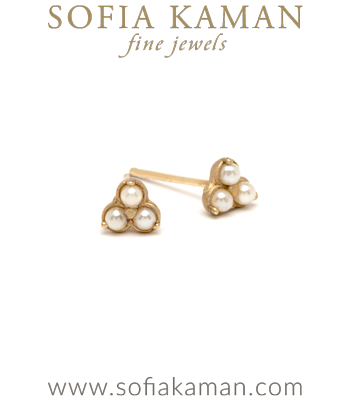 14K Gold Pearl Trefoil Stud Earrings for Unique Engagement Rings designed by Sofia Kaman handmade in Los Angeles