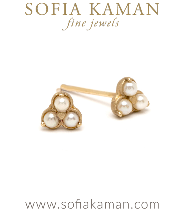 14K Gold Pearl Trefoil Stud Earrings for Unique Engagement Rings designed by Sofia Kaman handmade in Los Angeles using our SKFJ ethical jewelry process.