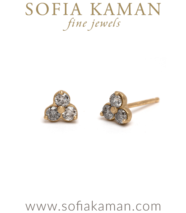 Three Stone Salt and Pepper Diamond Stud Earrings perfect for Unique Engagement Rings designed by Sofia Kaman handmade in Los Angeles using our SKFJ ethical jewelry process.