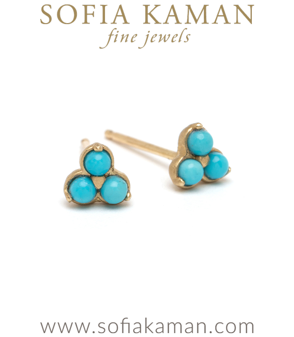 14K Gold Turquoise Trefoil Stud Earrings for Unique Engagement Rings designed by Sofia Kaman handmade in Los Angeles using our SKFJ ethical jewelry process.