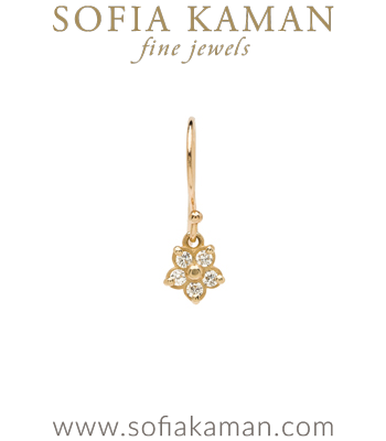14k Gold Diamond Forget Me Not Ear Wire Dangle Boho Single Earring designed by Sofia Kaman handmade in Los Angeles