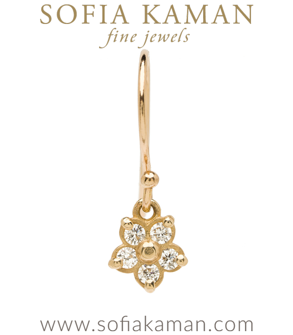14k Gold Diamond Forget Me Not Single Earring