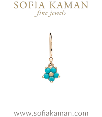 14k Matte Gold Forget Me Not Turquoise Bohemian Single Earring designed by Sofia Kaman handmade in Los Angeles