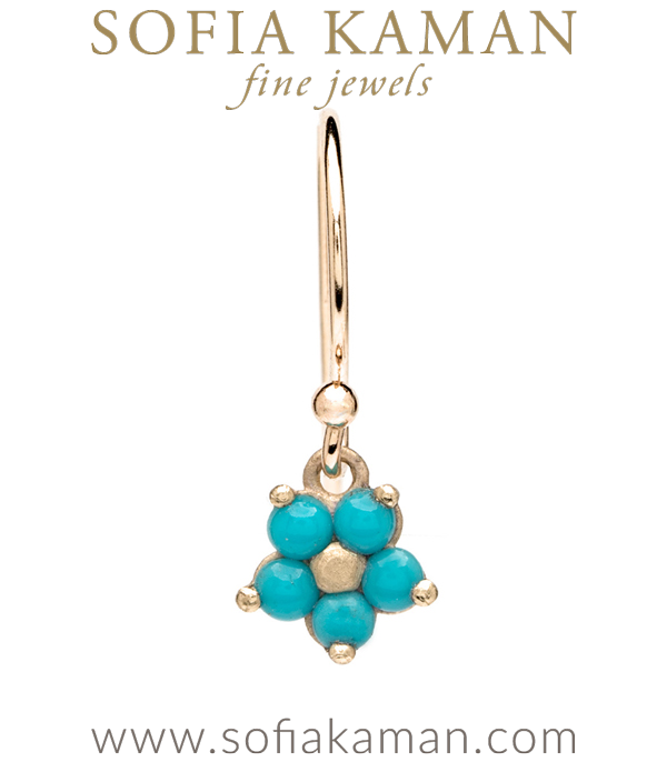 14k Matte Gold Forget Me Not Turquoise Bohemian Single Earring designed by Sofia Kaman handmade in Los Angeles using our SKFJ ethical jewelry process.