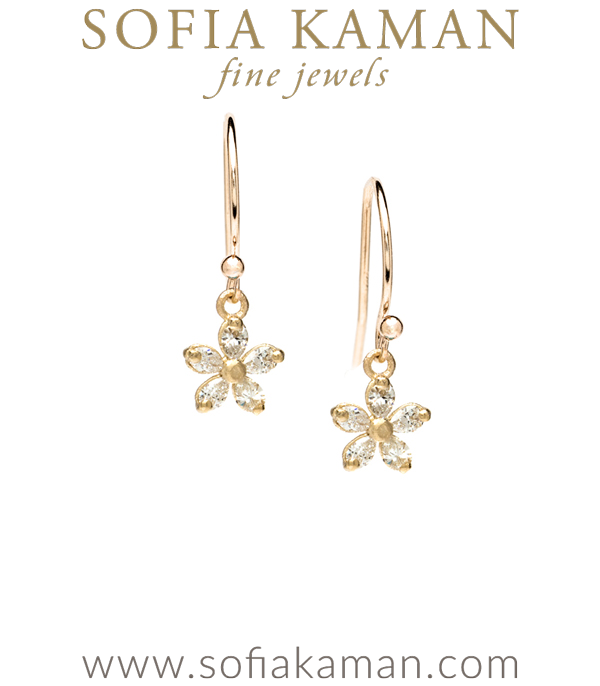 14k Matte Yellow Gold Pear Shape Diamond Daisy Bohemian Bride Wedding Earrings Designed By Sofia N