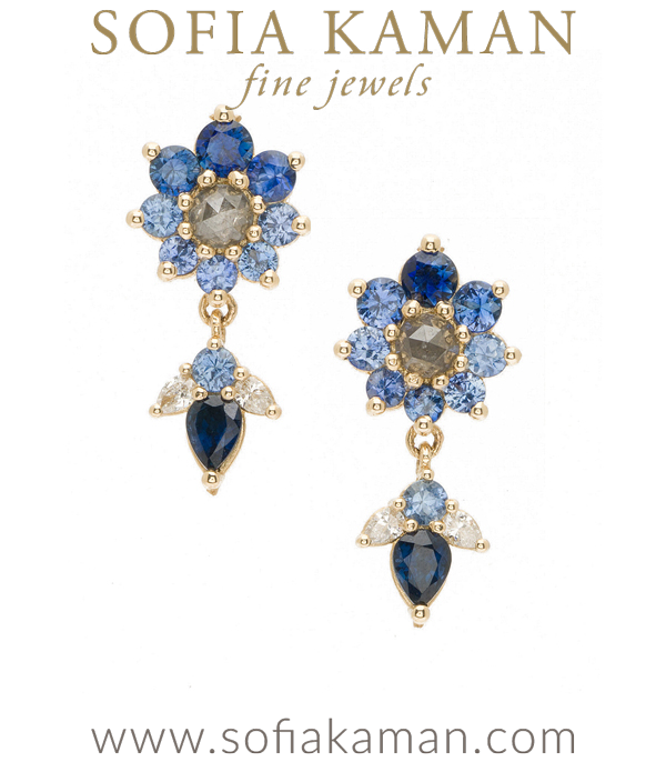 Giardinetti Flowers and Leaves Dangle Diamond Sapphire Navy Earrings designed by Sofia Kaman handmade in Los Angeles using our SKFJ ethical jewelry process.
