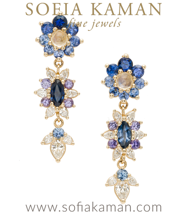Giardinetti Flowers and Leaves Dangle Diamond Sapphire Boho Navy Earrings designed by Sofia Kaman handmade in Los Angeles using our SKFJ ethical jewelry process.