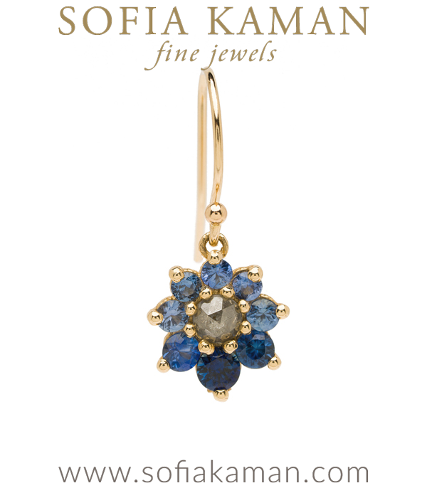 Vintage Georgian Inspired Giardinetti Blue Sapphire Cluster Salt and Pepper Diamond Center Flower Boho Single Earring designed by Sofia Kaman handmade in Los Angeles using our SKFJ ethical jewelry process.