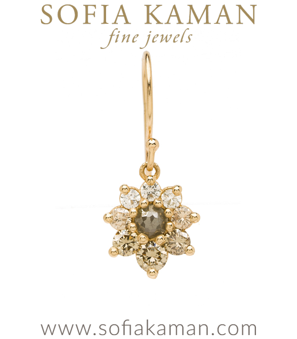 Vintage Georgian Inspired Giardinetti Champagne Diamond Cluster Salt and Pepper Diamond Center Flower Boho Single Earring designed by Sofia Kaman handmade in Los Angeles using our SKFJ ethical jewelry process.