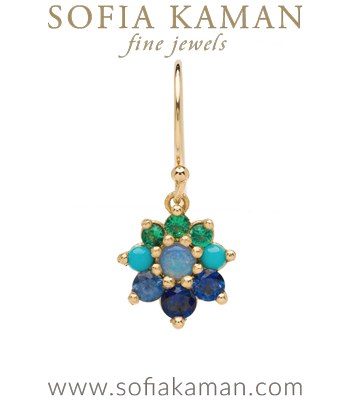 Vintage Georgian Inspired Giardinetti Blue Sapphire Turquoise Emerald Cluster Opal Center Flower Bohemian Single Earring designed by Sofia Kaman handmade in Los Angeles