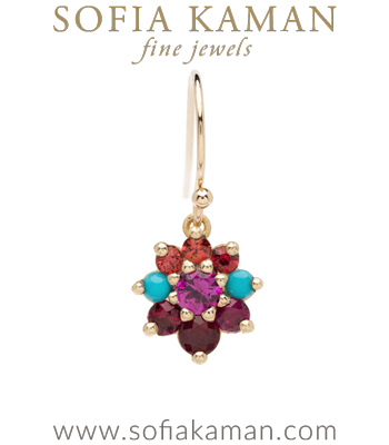 Vintage Georgian Inspired Giardinetti Orange Sapphire Turquoise Ruby Cluster Pink Sapphire Center Flower Boho Single Earring designed by Sofia Kaman handmade in Los Angeles