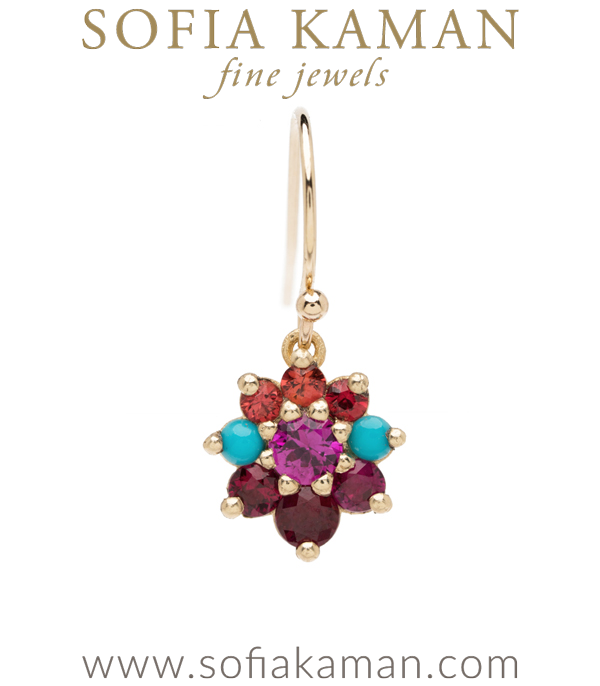 Vintage Georgian Inspired Giardinetti Orange Sapphire Turquoise Ruby Cluster Pink Sapphire Center Flower Boho Single Earring designed by Sofia Kaman handmade in Los Angeles using our SKFJ ethical jewelry process.