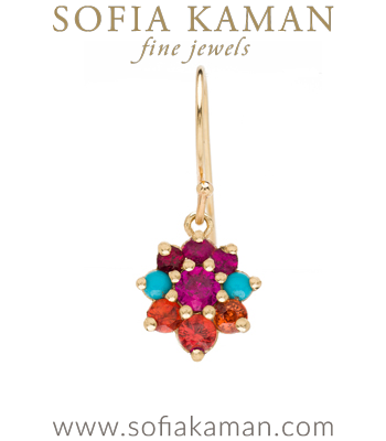 Vintage Georgian Inspired Giardinetti Ruby Turquoise Orange Sapphire Cluster Pink Sapphire Center Flower Bohemian Single Earring designed by Sofia Kaman handmade in Los Angeles