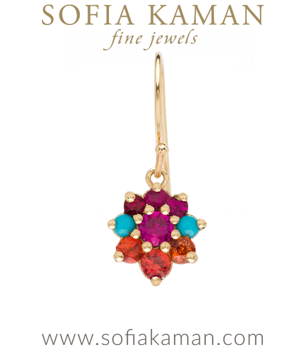 Vintage Georgian Inspired Giardinetti Ruby Turquoise Orange Sapphire Cluster Pink Sapphire Center Flower Bohemian Single Earring designed by Sofia Kaman handmade in Los Angeles using our SKFJ ethical jewelry process.