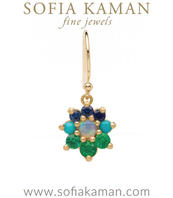 Vintage Georgian Inspired Giardinetti Blue Sapphire Turquoise Emerald Cluster Opal Center Flower Boho Single Earring designed by Sofia Kaman handmade in Los Angeles using our SKFJ ethical jewelry process. This piece has been sold and is in the SK Archive.