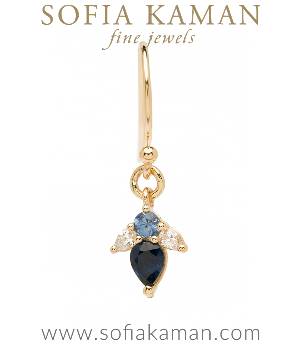 Georgian Vintage Inspired Giardinetti Blue Sapphire Diamond Flower Bud Bohemian Single Earring designed by Sofia Kaman handmade in Los Angeles