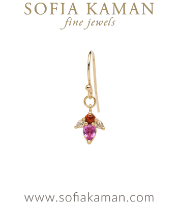 Vintage Georgian Inspired Giardinetti Pink and Orange Sapphire Diamond Flower Bud Boho Single Earring designed by Sofia Kaman handmade in Los Angeles