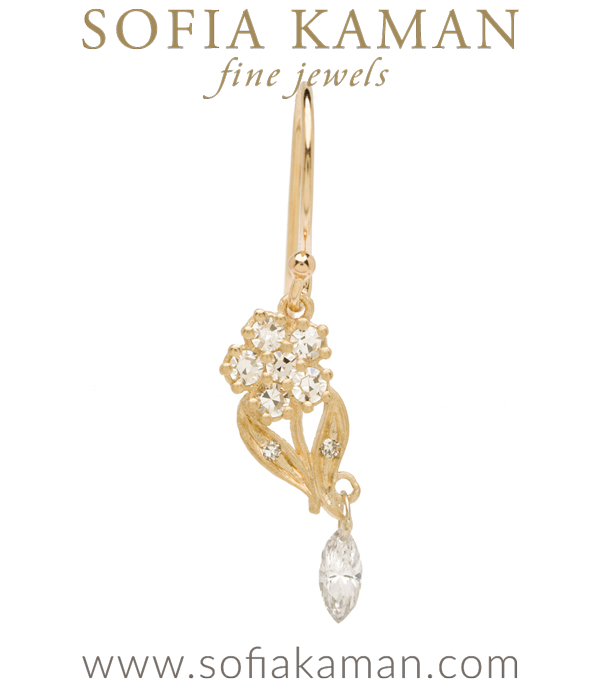 Antique Inspired Giardinetti Diamond Flower Marquis Diamond Dangle Bohemian Single Earring designed by Sofia Kaman handmade in Los Angeles