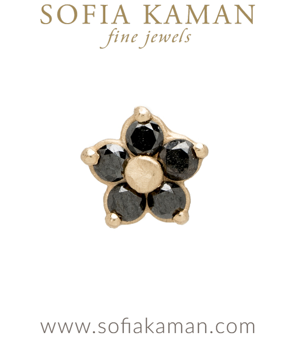 Ethically Sourced Black Diamond Mini Daisy Single Stud Earring designed by Sofia Kaman handmade in Los Angeles using our SKFJ ethical jewelry process.