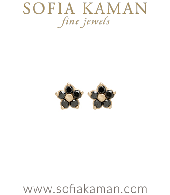Ethically Sourced Black Diamond Mine Daisy Stud Earrings designed by Sofia Kaman handmade in Los Angeles